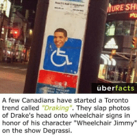 """Photos Of Drake: URE SH  uber  facts  A few Canadians have started a Toronto  trend called  """"Draking"""". They slap photos  of Drake's head onto wheelchair signs in  honor of his character """"Wheelchair Jimmy""""  on the show Degrassi."""