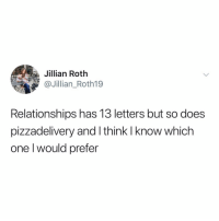 mmm... decisions, decisions...: ta  Jillian Roth  @Jillian_Roth19  Relationships has 13 letters but so does  pizzadelivery and I think I know which  one l would prefer mmm... decisions, decisions...