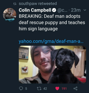 Thats really cool: ta southpaw retweeted  Colin Campbell@c... 23m  BREAKING: Deaf man adopts  deaf rescue puppy and teaches  him sign languag  yahoo.com/gma/deaf-man-a Thats really cool