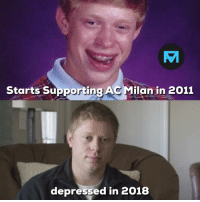 Memes, Ac Milan, and 🤖: TA  Starts Supporting AC Milan in 2011  depressed in 2018 50' Napoli 0-2 AC Milan 79' Napoli 3-2 AC Milan 🤦♂️