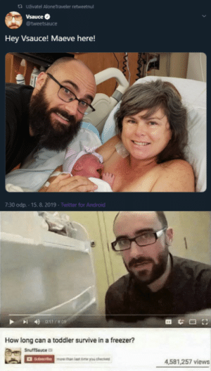 michael dont: ta uživatel AloneTraveler retweetnul  Vsauce  @tweetsauce  Hey Vsauce! Maeve here!  7:30 odp.-15.8. 2019 Twitter for Android  011/8 09  How long can a toddler survive in a freezer?  SmuffSauce  Suarothan laset e you he  4.581,257 views michael dont