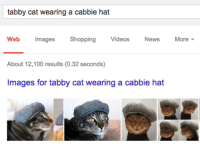 tabby: tabby cat wearing a cabbie hat  Web Images Shopping Videos News More  About 12,100 results (0.32 seconds)  Images for tabby cat wearing a cabbie hat