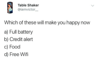 What do y'all need? ⬇️⬇️ . KraksTV: Table Shaker  @iamvictor.  Which of these will make you happy now  a) Full battery  b) Credit alert  c) Food  d) Free Wifi What do y'all need? ⬇️⬇️ . KraksTV