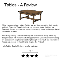 "Dank, God, and Mean: Tables - A Review  While they are not very bright, Tables are world-renowned for their Loyalty  and their Strength. Though it should not be understated that they are  Extremely Stupid, and I do not mean that unkindly, there is also a profound  Gentleness to them.  Here many will say ""but I stubbed my toe on a table! It nearly broke my  dang toe clean off!"" which is what happens when you walk around making  eye contact with people and breathing through your mouth like you're God.  Tables are devices of Humility and despise the Prideful.  I rate Tables 4 out of 4 stars-one for each leg  Leg s  @welcometomymemepage  @wtmmp here i present my long-awaited thoughts on Tables"