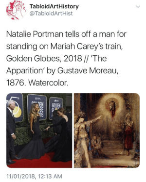 That man has been disposed of : TabloidArtHistory  @TabloidArtHist  Natalie Portman tells off a man for  standing on Mariah Carey's train,  Golden Globes, 2018 // 'The  Apparition' by Gustave Moreau,  1876. Watercolor.  TH  IFPA  11/01/2018, 12:13 AM That man has been disposed of