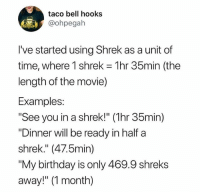 """Birthday, Instagram, and Meme: taco bell hooks  @ohpegah  I've started using Shrek as a unit of  time, where I shrek = 1 hr 35min (the  length of the movie)  Examples:  See you in a shrek!"""" (1hr 35min)  """"Dinner will be ready in half a  shrek."""" (47.5min)  """"My birthday is only 469.9 shreks  away!"""" (1 month) @hoest was voted 'Best Meme Account on Instagram' 🤣🔥"""