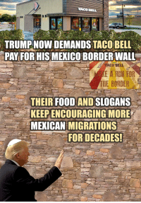Taco Bell: TACO BELL  TRUMPNOW DEMANDS TACO BELL  PAY FORH S MEKICO BORDER WALL  ACO BEE  HE BORDER  THEIR FOOD AND SLOGANS  KEEPENCOURAGING MORE  MEXICAN MIGRATIONS  FOR DECADES!