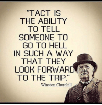 "Memes, Ability, and Hell: ""TACT IS  THE ABILITY  TO TELL  SOMEONE TO  GO TO HELL  IN SUCH A WAY  THAT THEY  LOOK FORWARD  TO THE TRIP  29  Winston Churchill Ha!"