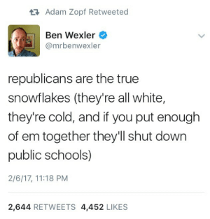 True, Tumblr, and Blog: tAdam Zopf Retweeted  Ben Wexler  @mrbenwexler  republicans are the true  snowflakes (they're all white,  they're cold, and if you put enough  of em together they'll shut down  public schools)  2/6/17, 11:18 PM  2,644 RETWEETS 4,452 LIKES phllip-shea:👏👏👏