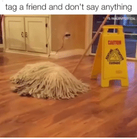Dank, 🤖, and Dog: tag a friend and don't say anything  FB: PAKALUPAPITOOFFICIAL  CAUTION  CUIDADO When your dog pretends to be a mop