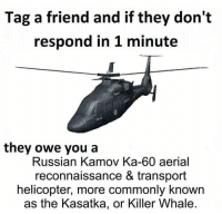 Memes, Russian, and 🤖: Tag a friend and if they don't  respond in 1 minute  they owe you a  Russian Kamov Ka-60 aerial  reconnaissance & transport  helicopter, more commonly known  as the Kasatka, or Killer Whale.