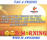 Life, Mirror, and Smile: TAG A FRIEND  IN THE MIRROR DO  SMILE THAT  EVERY MORNING AND YOU WILL  IN YOUR LIFE  WHO IS AWESOME