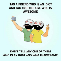 Twitter: BLB247 Snapchat : BELIKEBRO.COM belikebro sarcasm meme Follow @be.like.bro: TAG A FRIEND WHO IS AN IDIOT  AND TAG ANOTHER ONE WHO IS  AWESOME.  DON'T TELL ANY ONE OF THEM  WHO IS AN IDIOT AND WHO IS AWESOME. Twitter: BLB247 Snapchat : BELIKEBRO.COM belikebro sarcasm meme Follow @be.like.bro