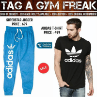 Adidas, Anaconda, and Gym: TAG A GYM FREAK  CASH ON DELIVERY+EXCHANGE FACILITY AVAILABLE 100% COTTON 100% ORIGINAL MERCHANDISE  SUPERSTAR JOGGER  PRICE 699  ADIDAS T-SHIRT  PRICE 499  Cash On  Delivery  adidas  SAE Workout and casual wear😍 @wear.affair Price: Range starting at ₹499 And Free delivery @wear.affair Sizes available: S,M,L, XL . COD available all India @wear.affair Order on what's app: 9968863530 wearaffair @wear.affair