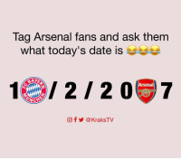 Arsenal, Memes, and Bayern: Tag Arsenal fans and ask them  what today's date is  BAYS  Arsenal  LATCH  CO f @KraksTV 😂😂😂 Tag Them 👇🏾 👇🏾 👇🏾 . . . . . . . . . . . Arsenal AFC FCB Bayern UCL ChampionsLeague Lewandowski