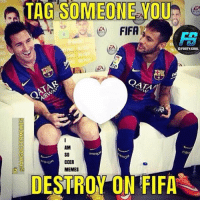 Fifa, Memes, and 🤖: TAG SOMEONE  YOU  FIFA  DFOOTY GOAL  DATA  CCER  MEMES  DESTRO ON FIFA Tag them😂👆