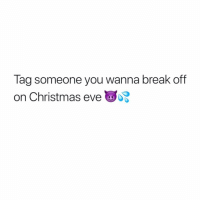 Christmas, Memes, and Break: Tag someone you wanna break off  on Christmas eve Tag