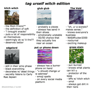 "uterally:  badwitchtips:  call me a necromancer bc i just raised a meme from the dead  I'M ALL OF THEM WTF: tag urself witch edition  kitch witch  glub glub  The Void  the Mom FriendTM  the definition of soft  ""i brought snacks""  puts a lot of responsibility - emotionally unstable  probably a pisces  always has sand in  ""oh, ur a scorpio?  makes sense.""  their shoes  knows everyone's  business  on themselves  50/50 chance that  seemingly ok w/ it tho??  deserves better  NASAFucker2000  nocturnal  exciting makeup  they actually live  near an ocean  edgelord  put ur phone down  grass stain  sun burned  still in their emo phase - always has a burner  black everything  decorates w/ dead things - ""u should change ur  secretly listens to Carly ip address""  knows what plants  protector of the  bffs w/ kitch witch  always got dirt in  phone on hand  can kill u  bees  -smol  their nails  emoji spells  on every social media  Rae Jepsen  platform  @badwitchtips// tumblr uterally:  badwitchtips:  call me a necromancer bc i just raised a meme from the dead  I'M ALL OF THEM WTF"