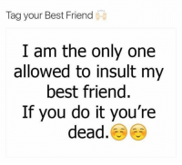 best friend: Tag your Best Friend  I am the only one  allowed to insult my  best friend  If you do it you're  dead