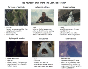 "mindsmonstersandmagic:  tag yourself I'm kylo's goth bandaid and millennial culture: Tag Yourself: Star Wars The Last Jedi Trailer  fortress of solitude  millennial culture  frozen catdoq  introvert  forgets to message back but they  really honestly meant to  blanket burrito  has seen some shit  tired  hates parties but goes anyway  pulled an all nighter once to study  for atest that was postponed  ""I hate vodka"",""drinks vodka*  a good  probably kill you  winter when it's snowing outside  .  . looks like a cinnamon roll, could  '  .  gets iced coffee even in the  .  .  ·  kylo's goth bandaid  porg screm  where's finn  always wears black  does their best  always worried about friends  takes a lot to make them angry  always does all the work on the  group project but never gets the  credit they DESERVE  smol  .edge lord  . always trying to fight someone  . yells a lot  .  doesn't actually have the ability  to fight anyone  will sleep in if they can  will of fer you the last piece of  candy even though they want it mindsmonstersandmagic:  tag yourself I'm kylo's goth bandaid and millennial culture"