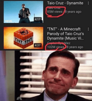 Club, Community, and Minecraft: Taio Cruz Dynamite  85M views 8 years ago  4:17  TNT A Minecraft  Parody of Taio Cruz's  Dynamite (Music Vi..  klez  4:37  102M views 8 years ago laughoutloud-club:  I'm so proud of this community