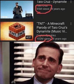 "8 Years: Taio Cruz Dynamite  Taio razL  85M views 8 years ago  4:17  vevo  ""TNT"" A Minecraft  Parody of Taio Cruz's  Dynamite (Music Vi..  Captain@parklez  102M views 8 years ago  THT  4:37  THT"