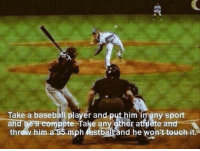 THIS 💯: Take a baseball player and put him in any sport  an  pete Take any other athlete and  thr  mph astbal and he won't touch it THIS 💯
