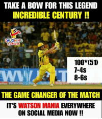 Anaconda, Social Media, and The Game: TAKE A BOW FOR THIS LEGEND  INCREDIBLE CENTURY!!  0  AUGHING  Colowrs  100*(51  1-4S  8-6s  THE GAME CHANGER OF THE MATCH  IT'S WATSON MANIA EVERYWHERE  ON SOCIAL MEDIA NOW!! #IPL #IPLfinal #SRHvCSK #ShaneWatson