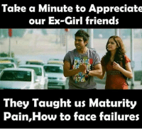 Memes, 🤖, and Mature: Take a Minute to Appreciate  our Ex-Girl friends  1976  They Taught us Maturity  Pain,How to face failures