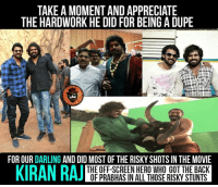 Prabhas ni ditto follow avuthu chaala kastapaddadu eeyana ☝👏 #Bahubali2: TAKE A MOMENT AND APPRECIATE  THE HARDWORK HE DID FOR BEING A DUPE  FOR OUR  DARLING  AND DID MOST OF THE RISKY SHOTS IN THE MOVIE  KIRAN RAJ  THE OFF-SCREEN HERO WHO GOT THE BACK  OF PRABHAS IN ALL THOSE RISKY STUNTS Prabhas ni ditto follow avuthu chaala kastapaddadu eeyana ☝👏 #Bahubali2