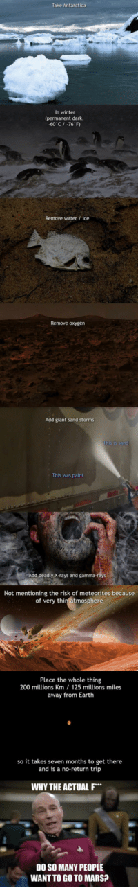 <p>For Those Who Want To Go To Mars, This Is How It Really Is.</p>: Take Antarctica  In winter  (permanent dark,  -60 C/ -76 F)  Remove water ice  Remove oxygen  Add giant sand storms  This was paint  Add deadly X-rays and gamma-r  Not mentioning the risk of meteorites because  of very thin atmosphere  Place the whole thing  200 millions Km 125 millions miles  away from Earth  so it takes seven months to get there  and is a no-return trip  WHY THE ACTUAL F  DO SO MANY PEOPLE  WANT TO GO TO MARS? <p>For Those Who Want To Go To Mars, This Is How It Really Is.</p>