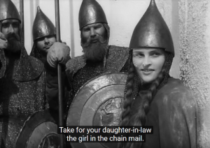 Goals, Movies, and Girl: Take for your daughter-in-law  the girl in the chain mail. Goals from one of my favorite movies, Alexander Nevsky (1938)