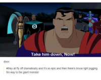 """""""Wait up guys!"""": Take him down, Now!  door:  #they all fly off dramatically and it's so epic and then there's bruce light jogging  his way to the giant monster """"Wait up guys!"""""""