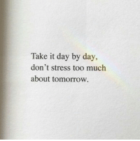 Too Much, Tomorrow, and Stress: Take it day by day,  don't stress too much  about tomorrow.