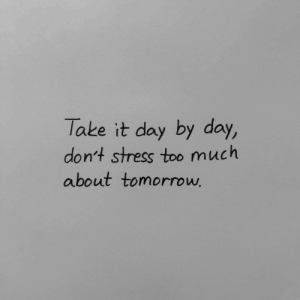 Too Much, Stress, and Day: Take it day by day,  don't stress too much  about tomorroww