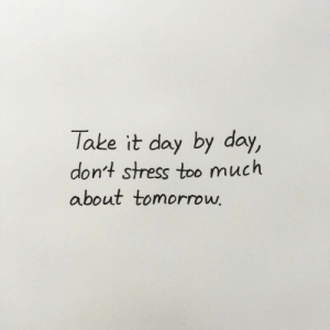 By Day: Take it day by day,  dont stress too much  about tomorrow
