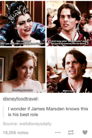 """He is fantastic in this: Take my  I don't know what """"melodramatic"""" means  Crow  Don't you think that's a bit melodramatie dear?ut vou'beremoved from the throne  wanttogo ona date  What's a date?  disneyfoodtravel  I wonder if James Marsden knows this  is his best role  Source: waltdisneysdaily  18,056 notes He is fantastic in this"""
