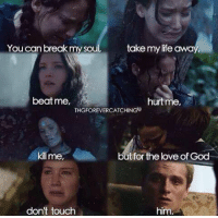I just can't wait for Mockingjay.: take my life away  You can break my soul,  hurtme,  beat me,  THGFOREVERCATCHINGg  kill me,  but for the love of God  don't touch  him I just can't wait for Mockingjay.