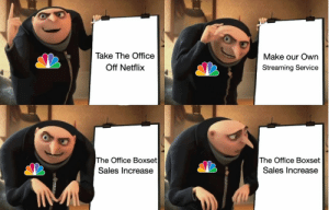 NBC Announces Plan for New Streaming Service (2019): Take The Office  Make our Own  Off Netflix  Streaming Service  The Office Boxset  The Office Boxset  Sales Increase  Sales Increase NBC Announces Plan for New Streaming Service (2019)
