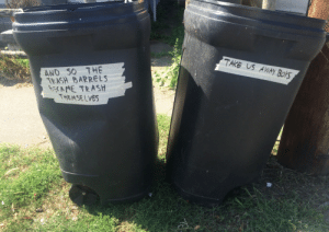sabrecmc:  girlswhoarewolves: Had to label the old trash barrels so the collectors would know to take them This should be the last post on tumblr before it is shut down. : TAKE US AWAY BOYS  AND SO THE  TEASH BARRELS  EME TRASH  THEMSELVES sabrecmc:  girlswhoarewolves: Had to label the old trash barrels so the collectors would know to take them This should be the last post on tumblr before it is shut down.