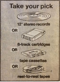 """Memes, Record, and 🤖: Take your pick  12"""" stereo records  OR  8-track cartridges  OR  tape cassettes  OR  reel to reel tapes"""