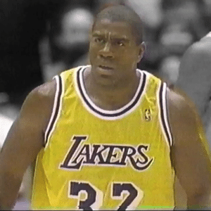Fake, Los Angeles Lakers, and Magic Johnson: TAKERS 5 years after the 1991 Playoffs, Magic Johnson came out of retirement and averaged 14.6 PTS, 6.9 AST, 5.7 REB in 32 games for the 1996 Lakers.   He had 19 PTS, 10 AST, 8 REB & 1 nasty fake on Latrell Sprewell in his 27 MIN return.    https://t.co/O6olXoXgOD