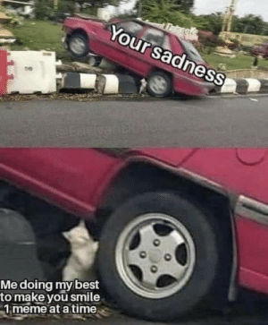 Meme, Memes, and Smile: Takes  Your sadness  THE  08  Me doing mybest  to make you smile  1 meme at a tinme https://t.co/fvZpHa7IMU