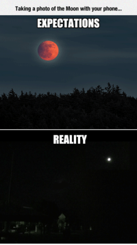 Phone, Moon, and Reality: Taking a photo of the Moon with your phone.  EXPECTATIONS  REALITY <p>Capturing The Moon</p>