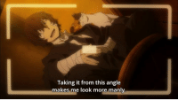 Anime: Bungou Stray Dogs  To be perfectly honest though, Dazai doesn't have any bad angles.  Bungou is back for its second cour and I'm back to writing about it~  After the ending of the first cour I was actually quite surprised that this one began with a prequel story about Dazai's mafia days. Although, I really can't complain because studio Bones made sure that this episode looked beautiful, as expected.  The story was a rather interesting one, too, although I must say that Dazai's deduction skills sometimes feel a biiiit overpowered (though honestly, I can live with that).  I wonder when will we return to modern times and the conflict with the Western writer-named villain organization, but for the moment I am glad to see that the show is back and am looking forward to whatever it may offer this season.  Also a question to the manga fans: Was this episode also present in the manga?  As for all the others: How did you enjoy the first ep of Bungou's new cour?  Admin Urushihara --- Last Week Advantage Voting Link: http://anitrendz.polldaddy.com/s/summer2016-anime-2 Summer 2016 Side-Category Polls: https://goo.gl/Idbjcp: Taking it from this angle  makes me look more manly. Anime: Bungou Stray Dogs  To be perfectly honest though, Dazai doesn't have any bad angles.  Bungou is back for its second cour and I'm back to writing about it~  After the ending of the first cour I was actually quite surprised that this one began with a prequel story about Dazai's mafia days. Although, I really can't complain because studio Bones made sure that this episode looked beautiful, as expected.  The story was a rather interesting one, too, although I must say that Dazai's deduction skills sometimes feel a biiiit overpowered (though honestly, I can live with that).  I wonder when will we return to modern times and the conflict with the Western writer-named villain organization, but for the moment I am glad to see that the show is back and am looking forward to whatever it may offer this s