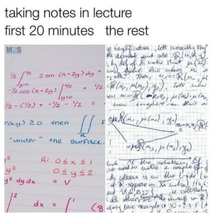 """Follow us @studentlifeproblems: taking notes in lecture  first 20 minutes the rest  M2S  MU  man  920  2 cos (n 2y  lete  """"under the surFace  셔  2  2  te, colosse Follow us @studentlifeproblems"""