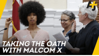 Malcolm X, Memes, and Autobiography: TAKING THE OATH  WITH MALCOM X With her fist held high, this politician got sworn in on the autobiography of Malcolm X ✊