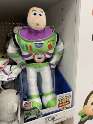 What the hell did they do to Buzz?!: TAL  SPACE RANGER  LIGHTYEAR  TRY ME!  PRESS XERE  FACE WASHABLE ONLYAIR DRY  ats. All New Materiais  ar Fibers, Ethylene Viny!  Polypropylene Pellets  er Fiber Felt  4-15431(HK)  HINA  ĐiSNEp PIXAR  TOY  45  STORY  SPACE RANCER LIGHTYE  000  21205  TALKING  DISNEY  BUZZL STUFFED ANIM  24.99  204 10 1007  n-4-3 What the hell did they do to Buzz?!