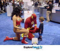 """This young boy lost his dad in the crowd & freaked out until he saw The Flash and Wonder Woman. He walked right up to them and asked for help because """"they aren't strangers, he knew them."""" 😝👏 Who says superheroes aren't real?!: Talent  Explore  SALES  luly 22  25 This young boy lost his dad in the crowd & freaked out until he saw The Flash and Wonder Woman. He walked right up to them and asked for help because """"they aren't strangers, he knew them."""" 😝👏 Who says superheroes aren't real?!"""