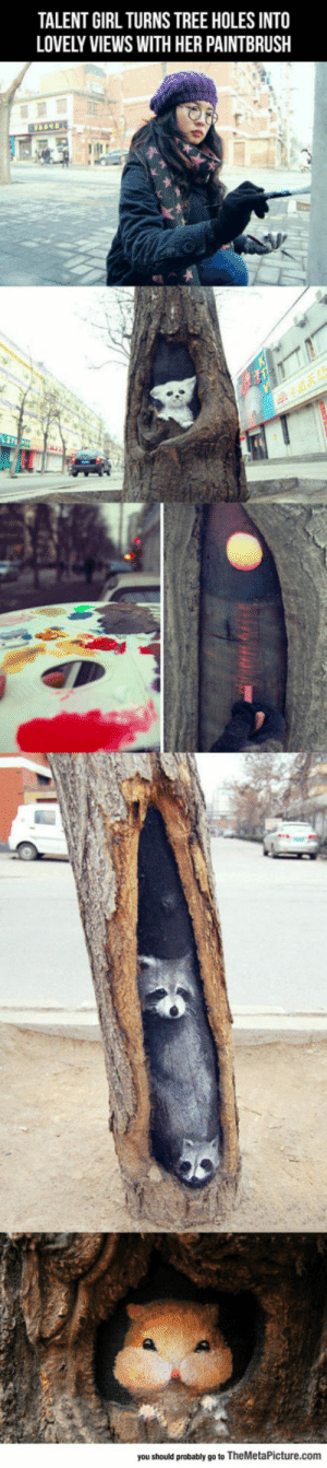 Tumblr, Holes, and Blog: TALENT GIRL TURNS TREE HOLES INTO  LOVELY VIEWS WITH HER PAINTBRUSH  you should probably go to TheMetaPicture.com srsfunny:Clever Art Inside Tree Holes